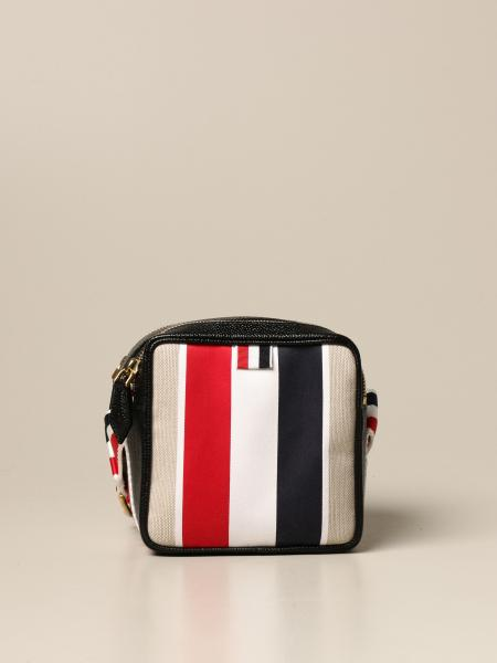 Thom Browne: Thom Browne shoulder bag in leather and canvas with bands