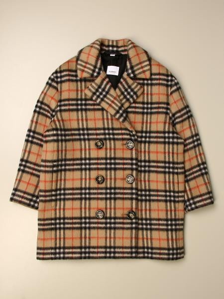 Cappotto a doppiopetto Burberry in misto lana check