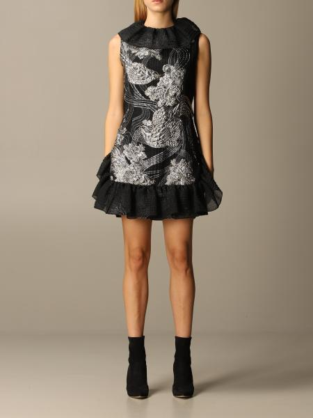 Alberta Ferretti silk dress with rouches and embroidery