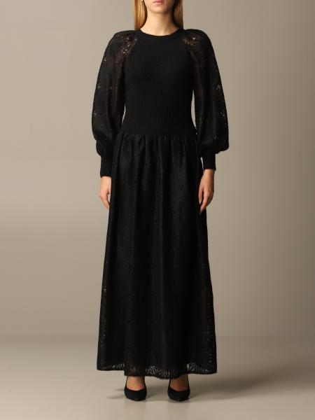 Alberta Ferretti long bi-material dress