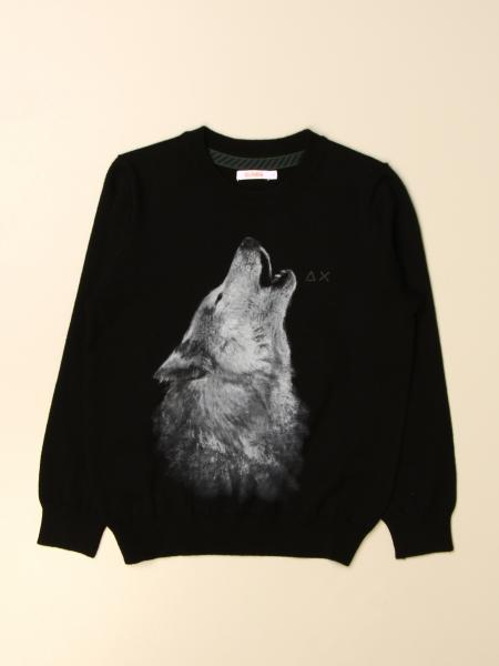 Sun 68 crew neck sweater with cotton wolf