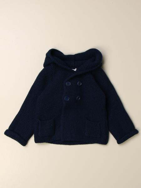 Il Gufo jacket in virgin wool with hood and pompon
