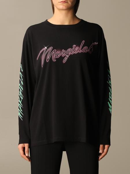 Maison Margiela: MM6 Maison Margiela long-sleeved t-shirt with logo