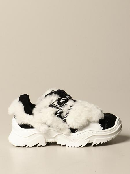 Chunky N ° 21 sneakers in suede and synthetic fur
