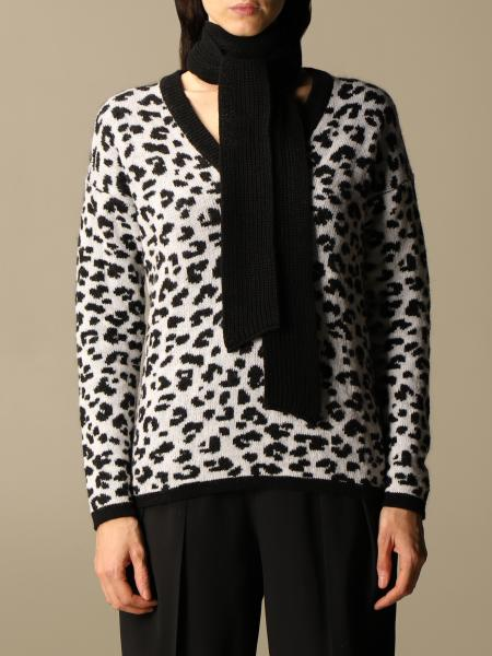 Be Blumarine: V-neck Be Blumarine animalier sweater with collar