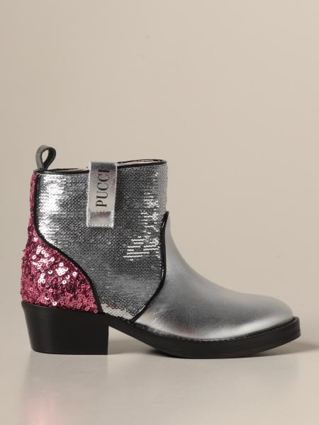 Emilio Pucci: Emilio Pucci ankle boot in laminated leather with sequins