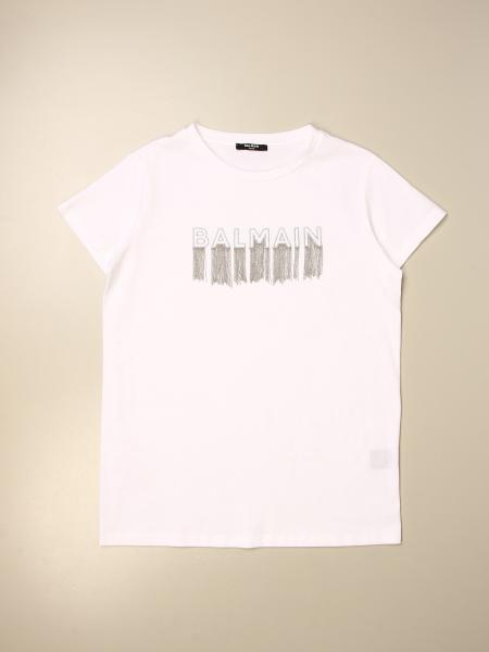 Balmain: Balmain T-shirt with fringed jewel logo