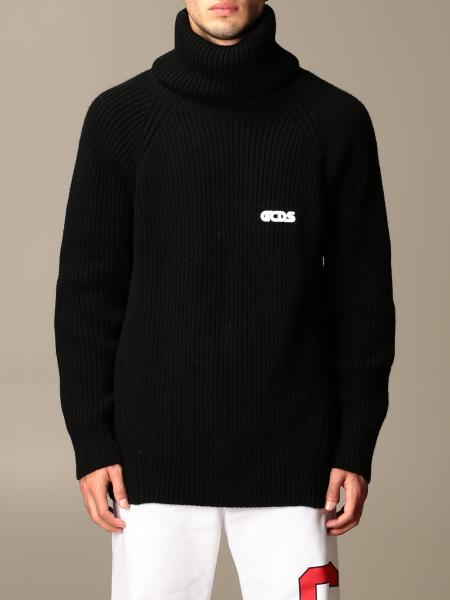 Gcds men: GCDS ribbed knit pullover with logo