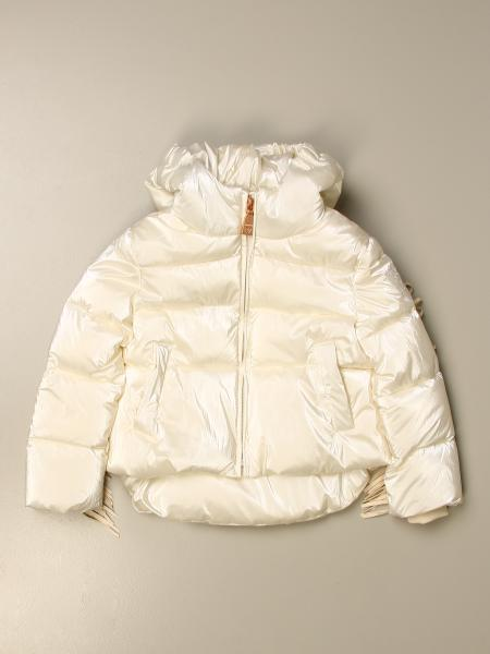 Monnalisa down jacket with hood and fringes