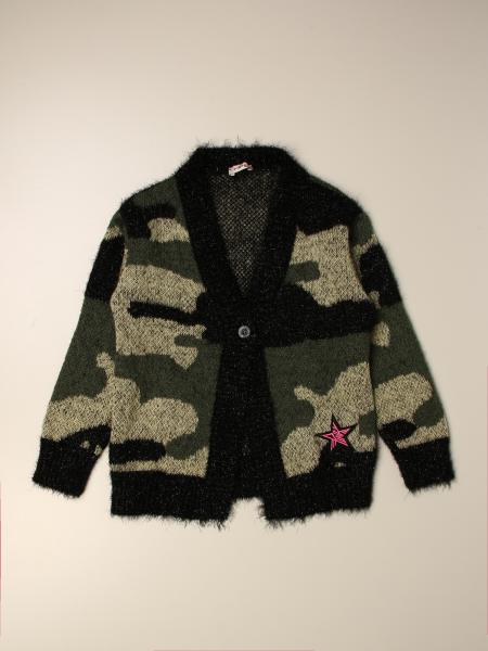 Pinko kids: Pinko camouflage cardigan with star