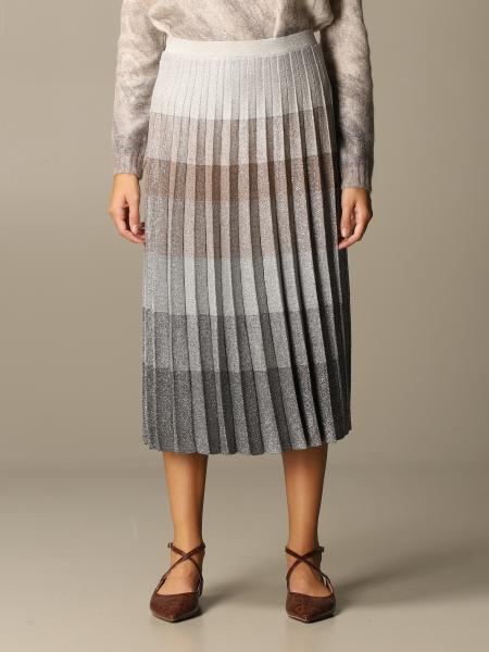D.exterior: D.exterior skirt in pleated wool blend