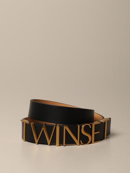 Twin-set leather belt with big logo lettering
