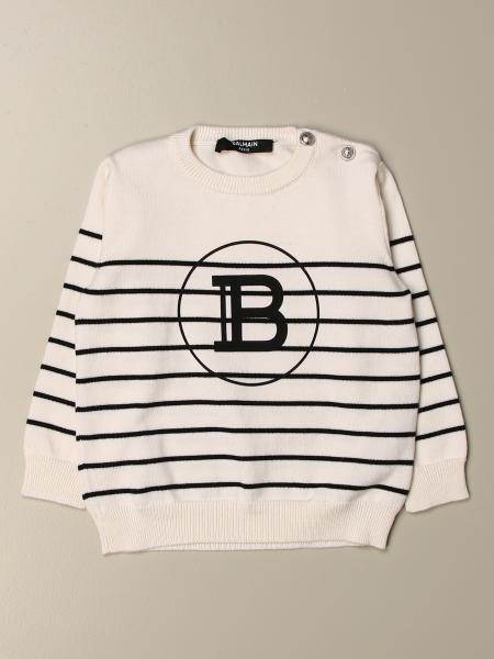 Balmain striped crew neck sweater with buttons