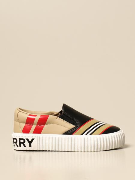 Burberry kids: Burberry slip on sneakers in leather