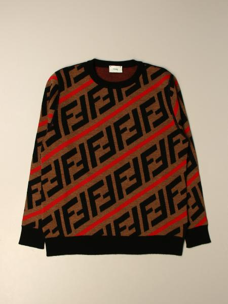 Fendi kids: Fendi crewneck sweater with all-over FF logo