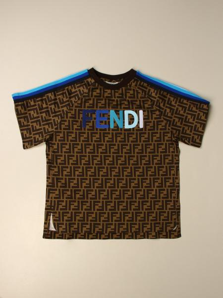Fendi kids: Fendi cotton T-shirt with all over FF logo
