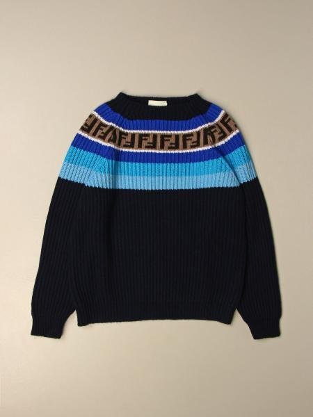 Fendi kids: Fendi crewneck pullover in ribbed cotton