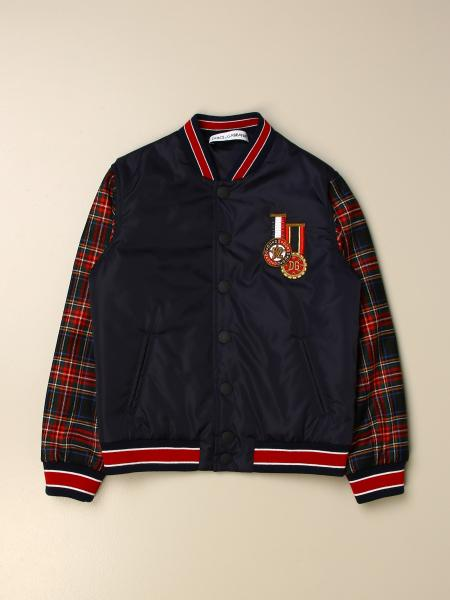 Dolce & Gabbana nylon bomber jacket with tartan sleeves