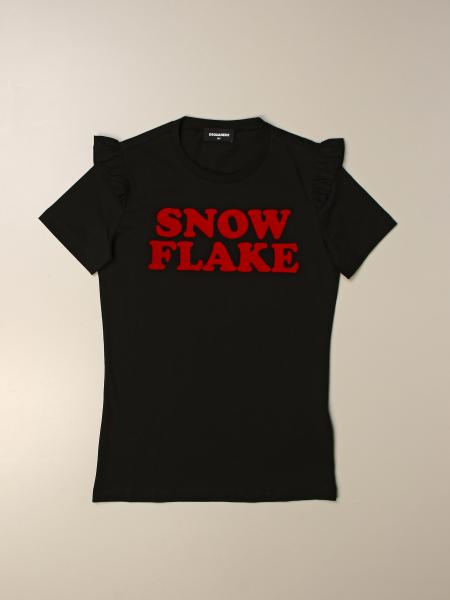 T-shirt Dsquared2 Junior con scritta snow flake