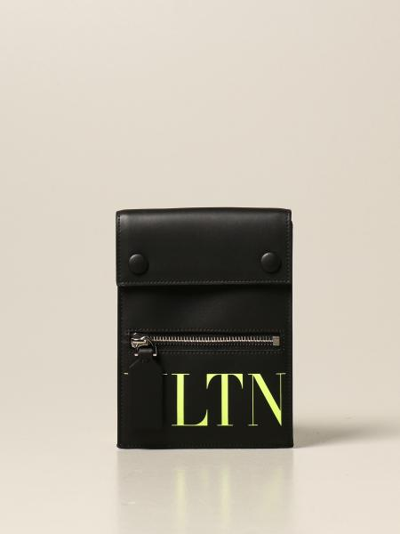 Valentino Garavani: Valentino Garavani mobile phone bag in leather with VLTN logo