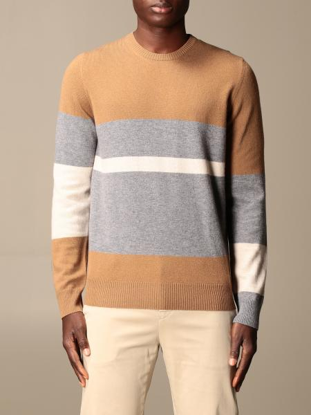 Alpha Studio: Alpha Studio crewneck sweater with color block bands