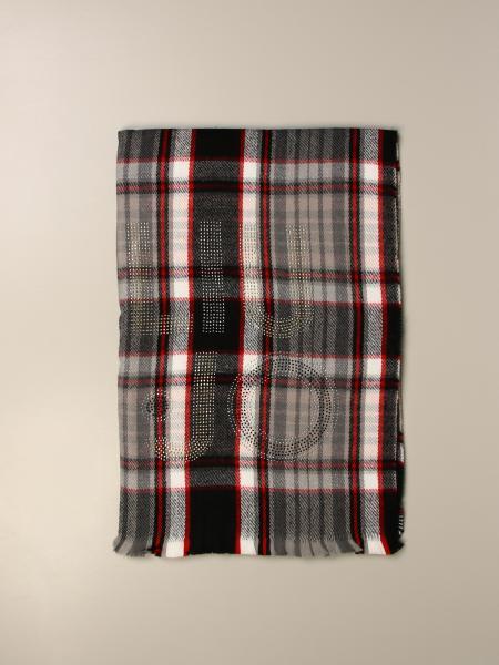 Liu Jo tartan scarf with rhinestone logo