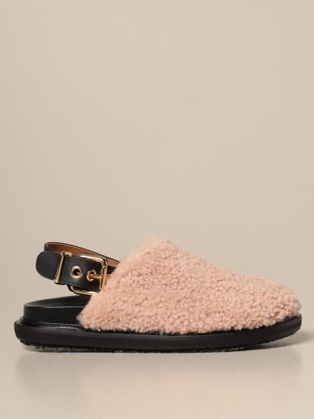 Marni sabot in Merinos wool and leather