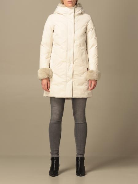 Woolrich women: Jacket coat with hood and fur cuffs