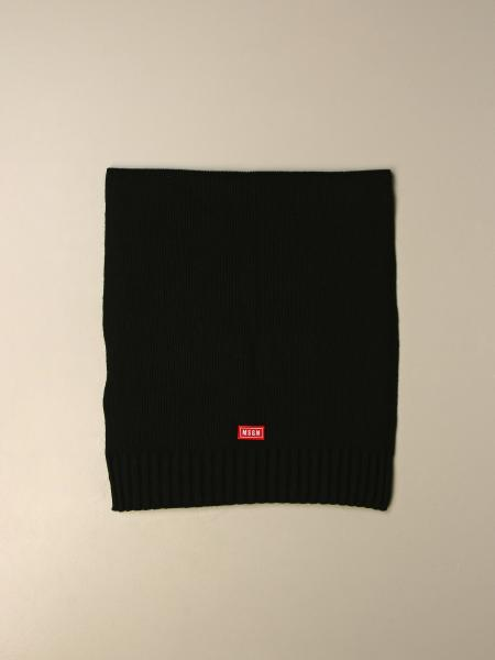 Msgm wool blend scarf with logo