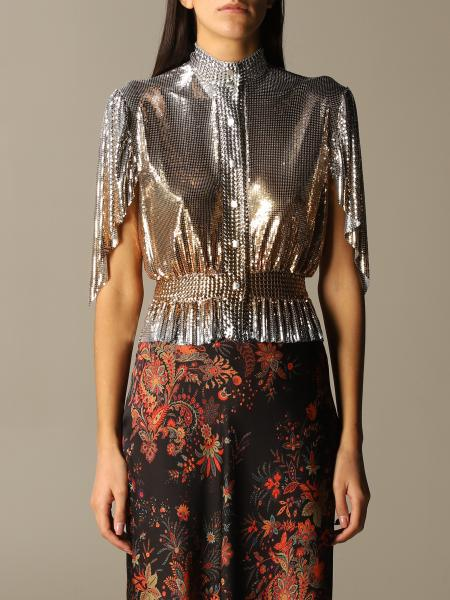 Paco Rabanne: Paco Rabanne jeweled top in metal mesh