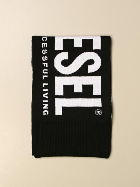 Diesel scarf with big logo in jacquard