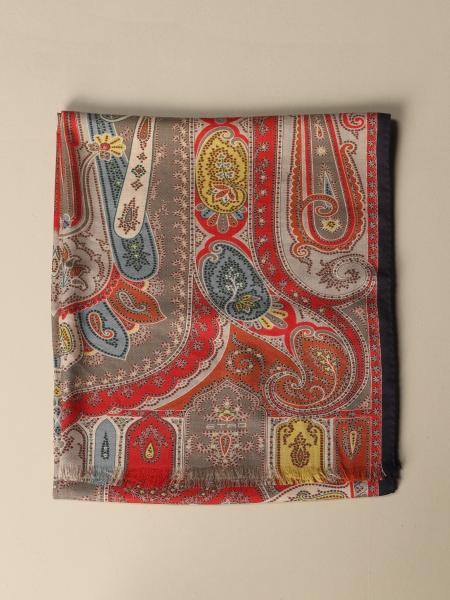 Etro scarf in silk and cashmere with paisley pattern