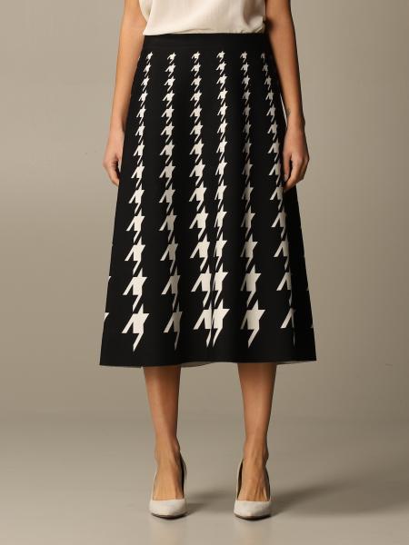 D.exterior: D.exterior longuette skirt in wool blend with macro pied de poule