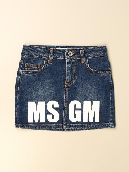 Msgm Kids denim skirt with logo