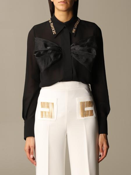 Camicia Elisabetta Franchi con fiocco e ricami