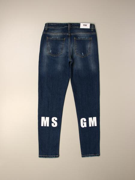 Jeans Msgm Kids in denim used con rotture e logo
