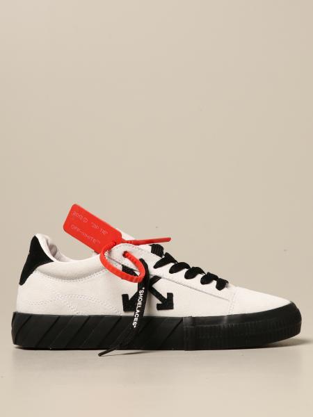 Sneakers Low Vulcanized Off White in camoscio con frecce