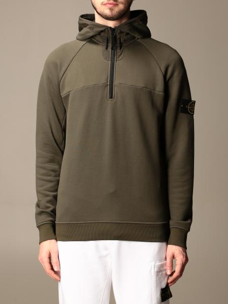 Stone Island men: Stone Island hooded sweatshirt with interrupted zip