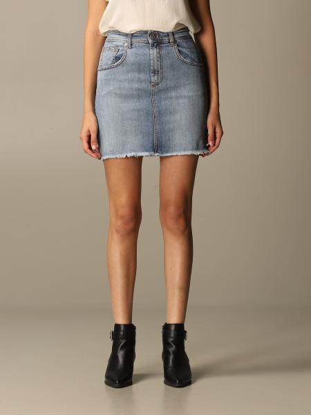 GaËlle Paris denim skirt with back logo