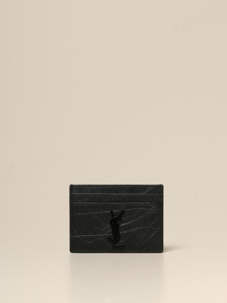 Saint Laurent credit card holder in crocodile print leather