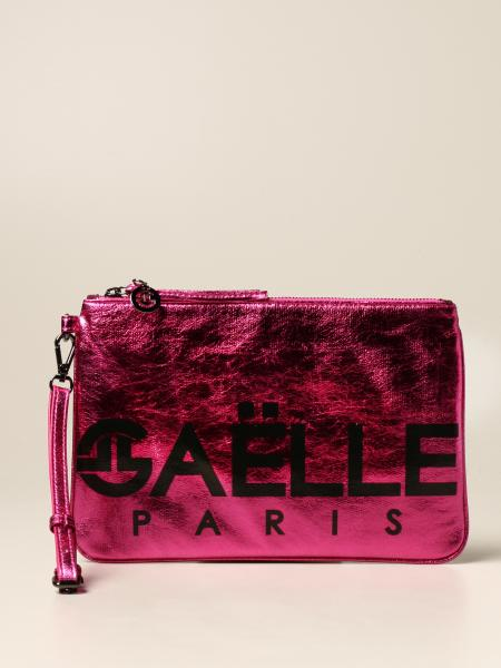 Gaëlle Paris pochette with logo in laminated synthetic leather