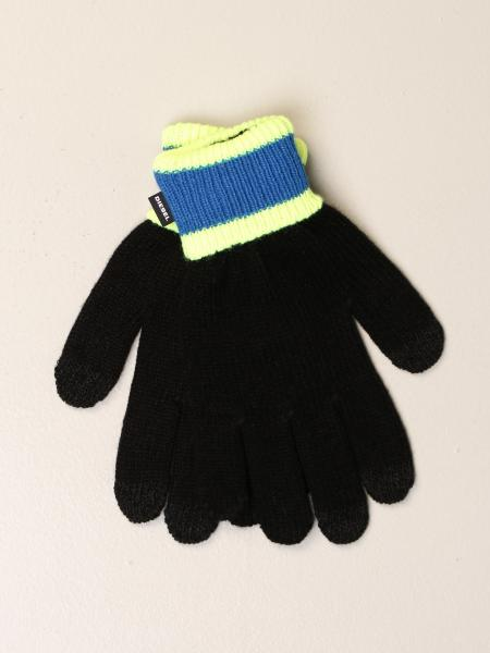 Diesel ribbed gloves with striped pattern