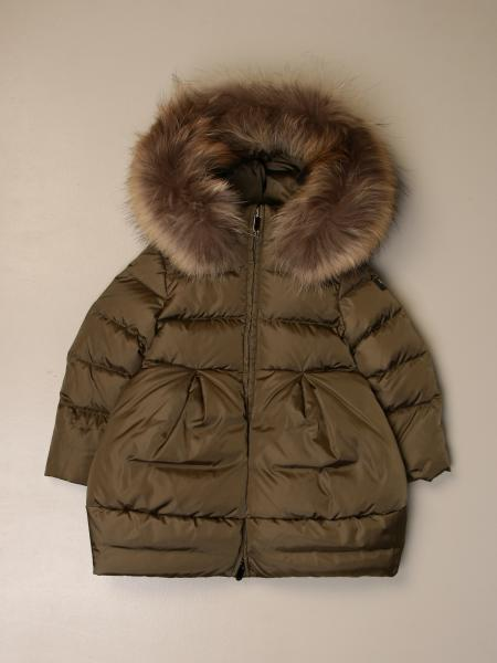 Il Gufo down jacket with hood and fur edges
