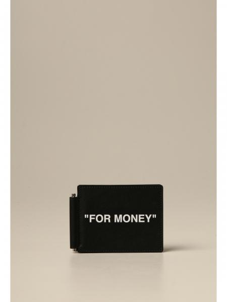 Off White leather money holder with