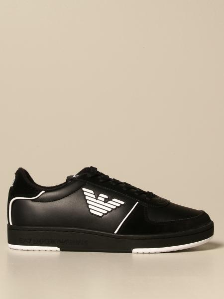 Ea7 men: EA7 sneakers in leather and suede