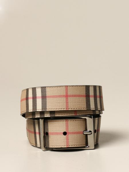 Burberry reversible belt in e-canvas with vintage check pattern and leather
