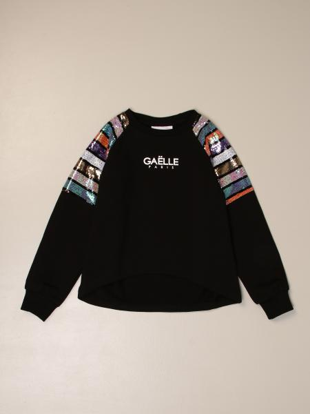 Gaëlle Paris crewneck sweater with striped glitter bands