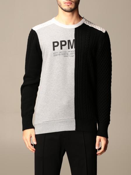 Paolo Pecora: Maglia a girocollo Paolo Pecora con effetto tricolor