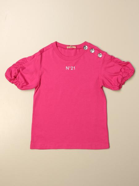 N° 21: N ° 21 T-shirt with logo and jewel buttons