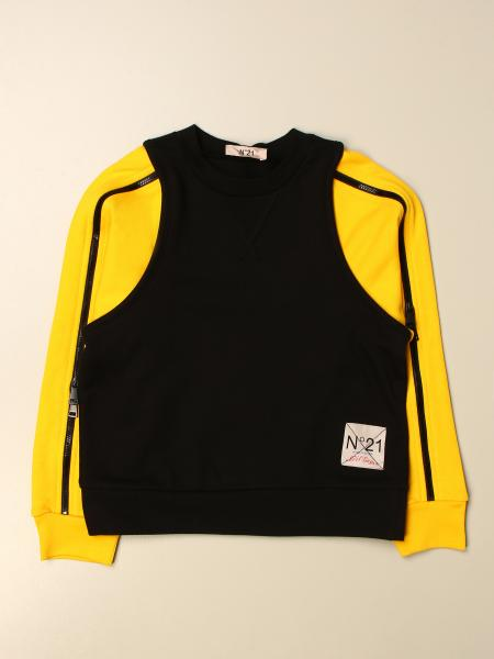N° 21: N ° 21 crewneck sweater with logo and zip